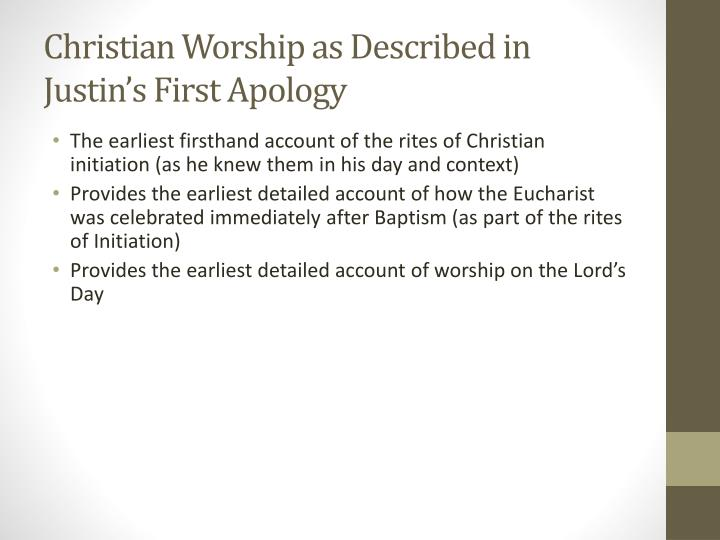 Christian Worship as Described in Justin's First Apology
