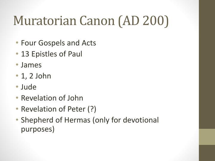 Muratorian Canon (AD 200)