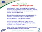 natural hazards rationale specific programme