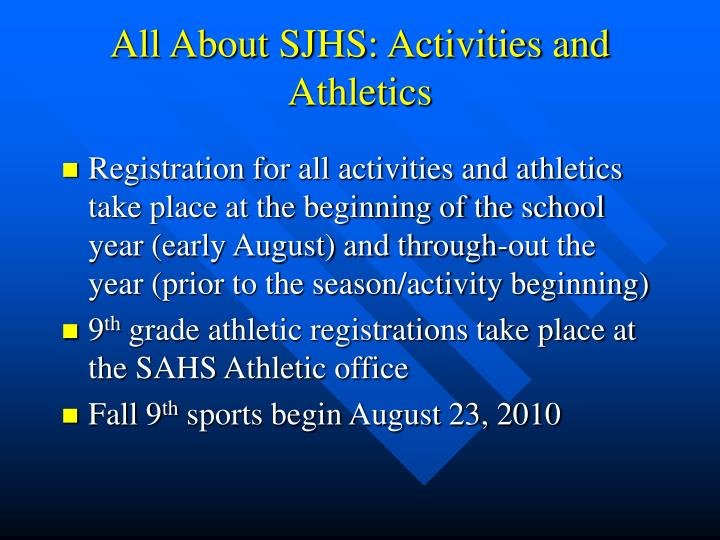 All About SJHS: Activities and Athletics