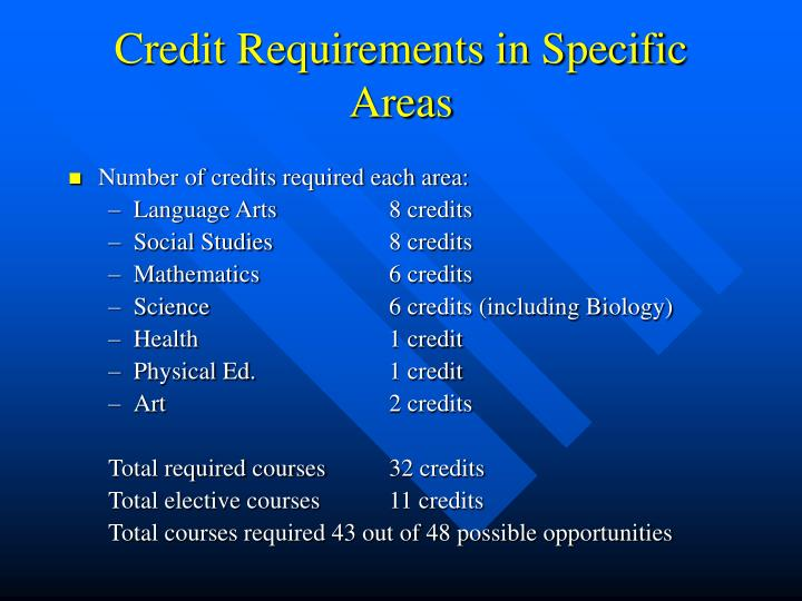 Credit Requirements in Specific Areas