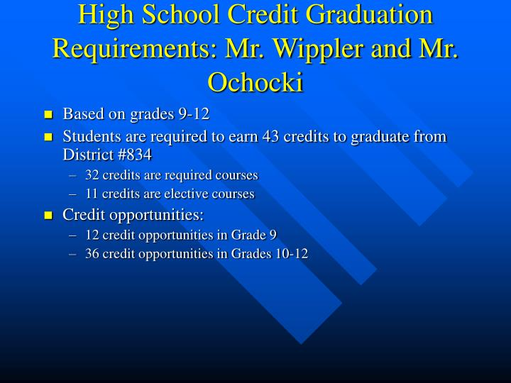 High School Credit Graduation Requirements: Mr. Wippler and Mr. Ochocki