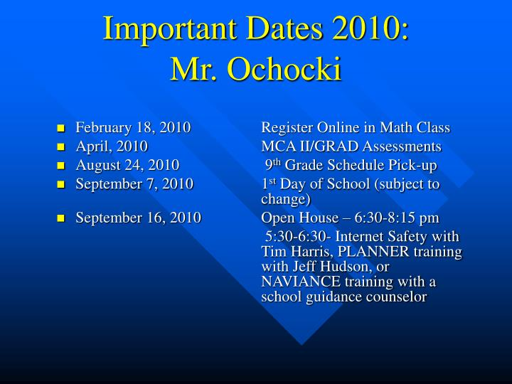 Important Dates 2010: