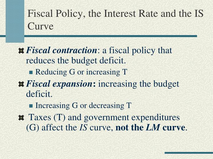 Fiscal Policy, the Interest Rate and the IS Curve
