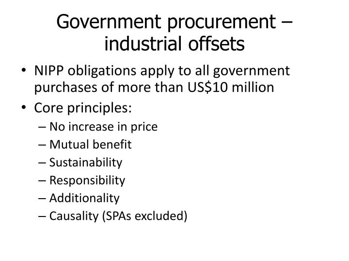 Government procurement – industrial offsets
