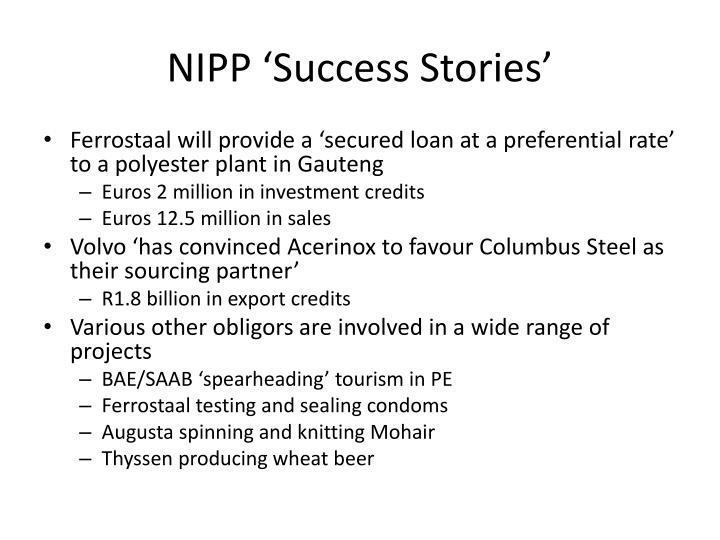 NIPP 'Success Stories'