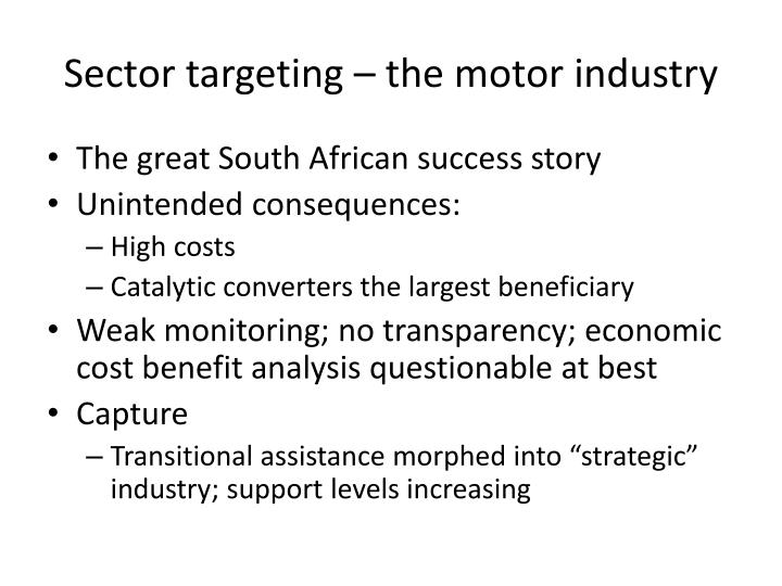 Sector targeting – the motor industry