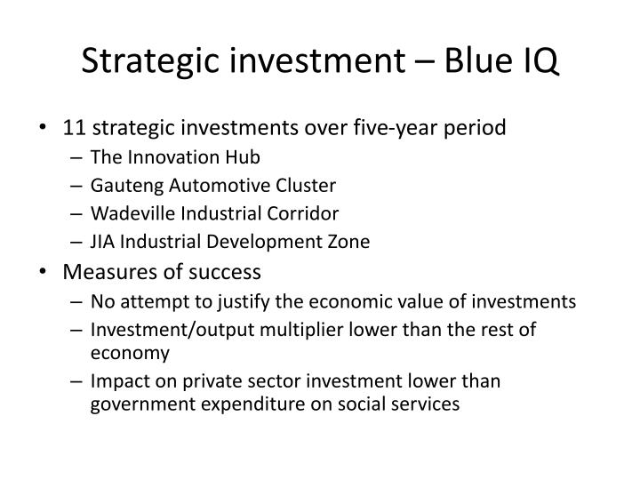 Strategic investment – Blue IQ