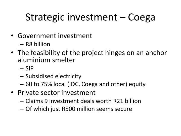 Strategic investment – Coega
