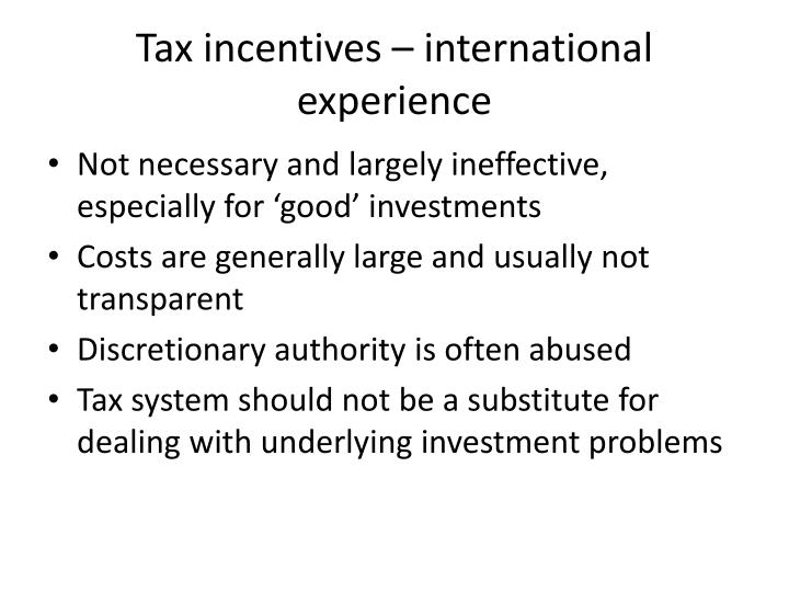 Tax incentives – international experience