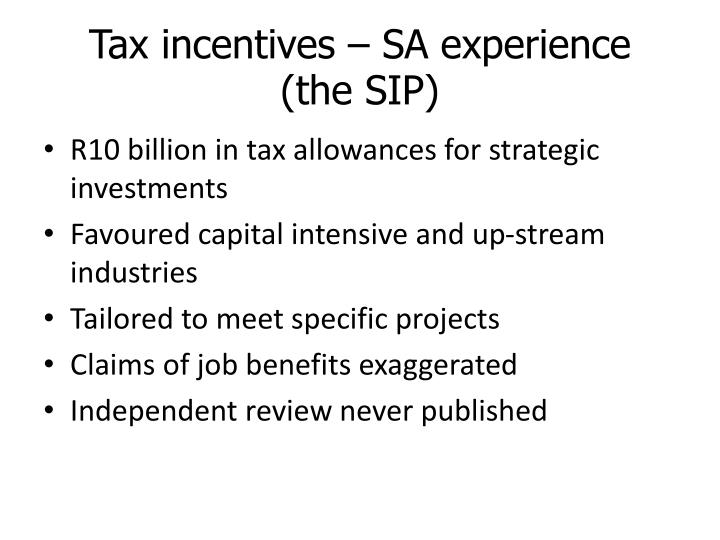 Tax incentives – SA experience