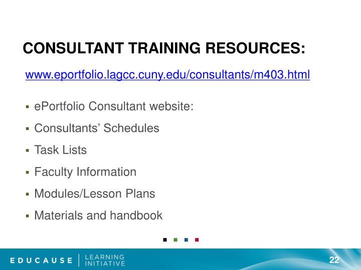Consultant Training Resources: