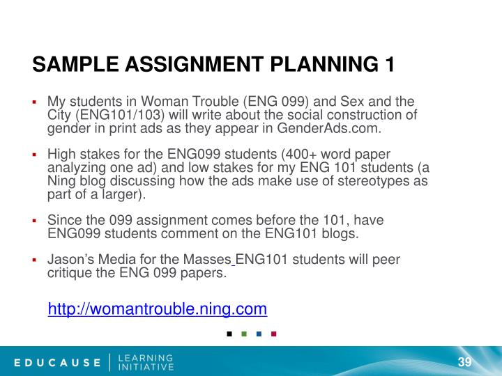 Sample Assignment Planning 1