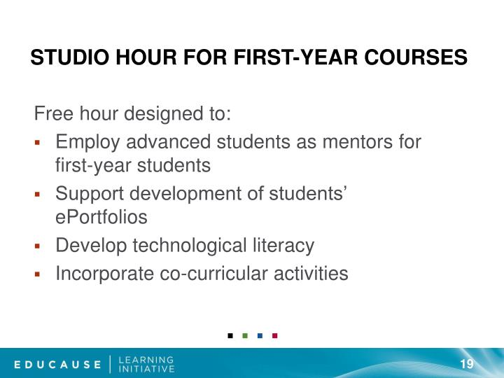 Studio Hour for First-Year Courses