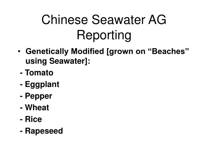 Chinese Seawater AG Reporting