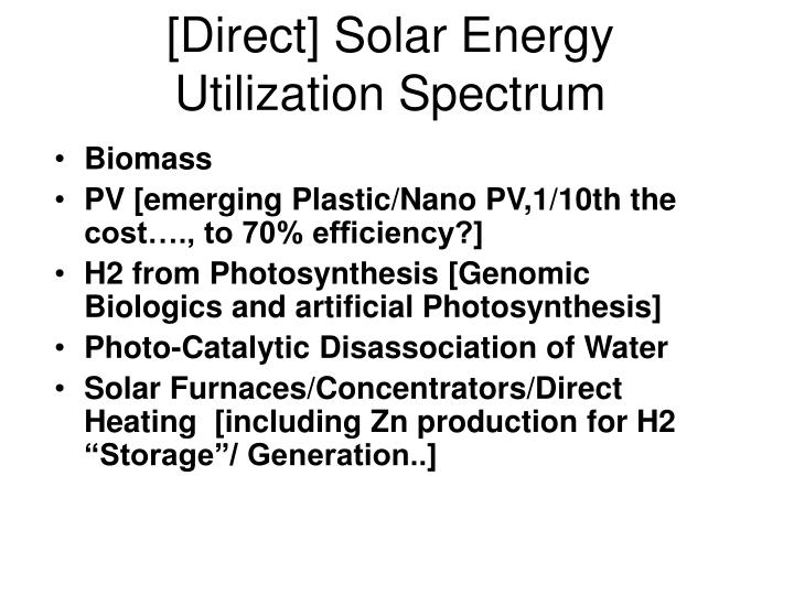[Direct] Solar Energy Utilization Spectrum