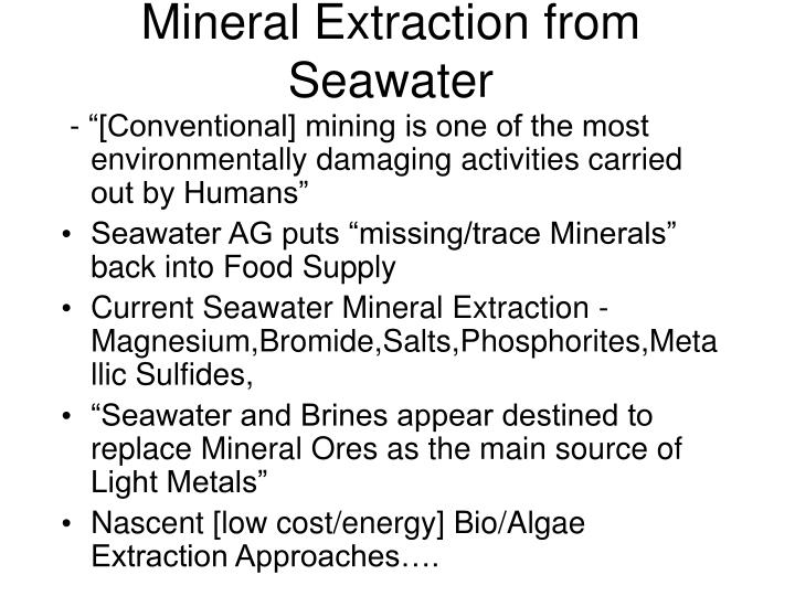 Mineral Extraction from Seawater