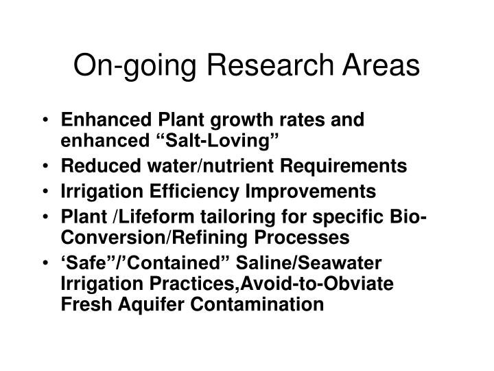 On-going Research Areas