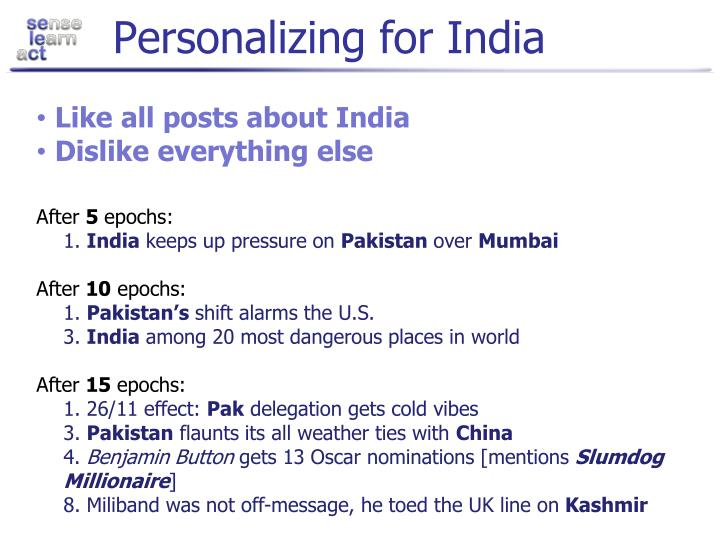 Personalizing for India