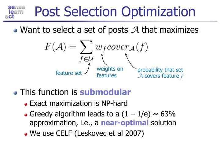 Post Selection Optimization