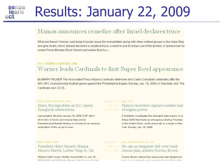 Results: January 22, 2009