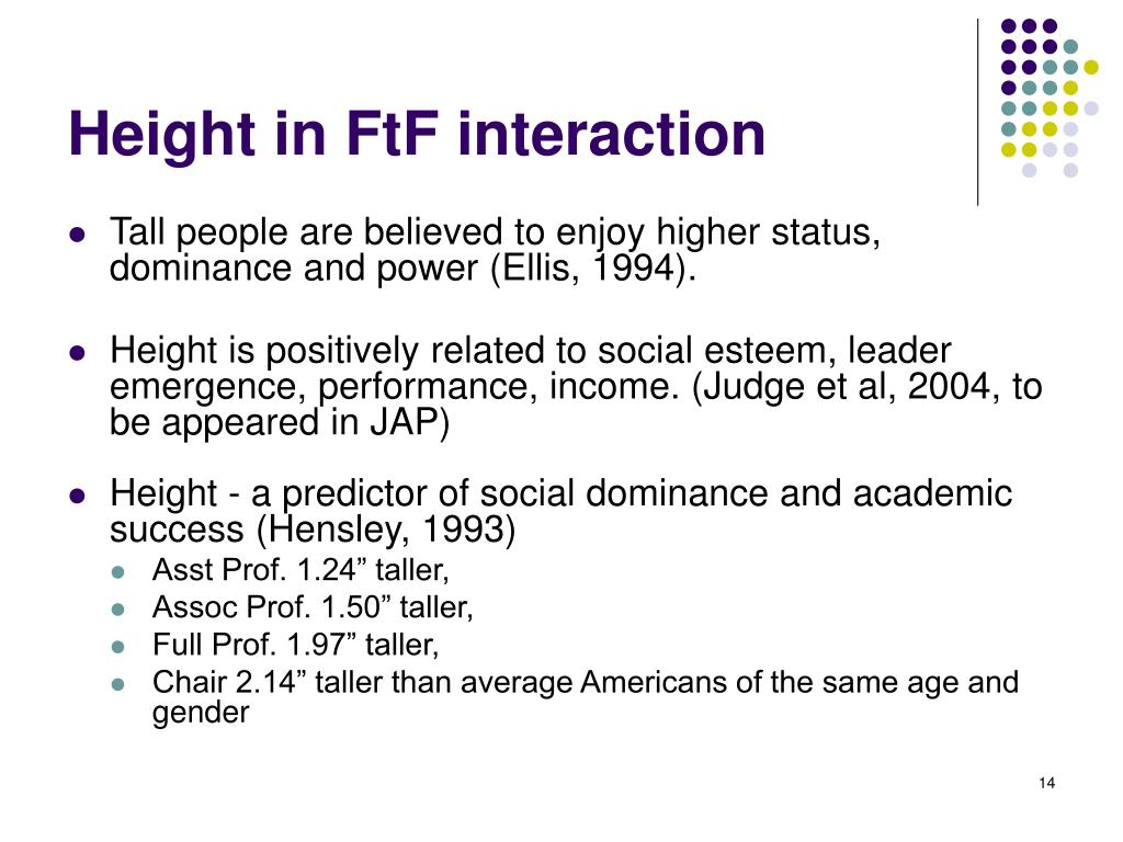 Height in FtF interaction