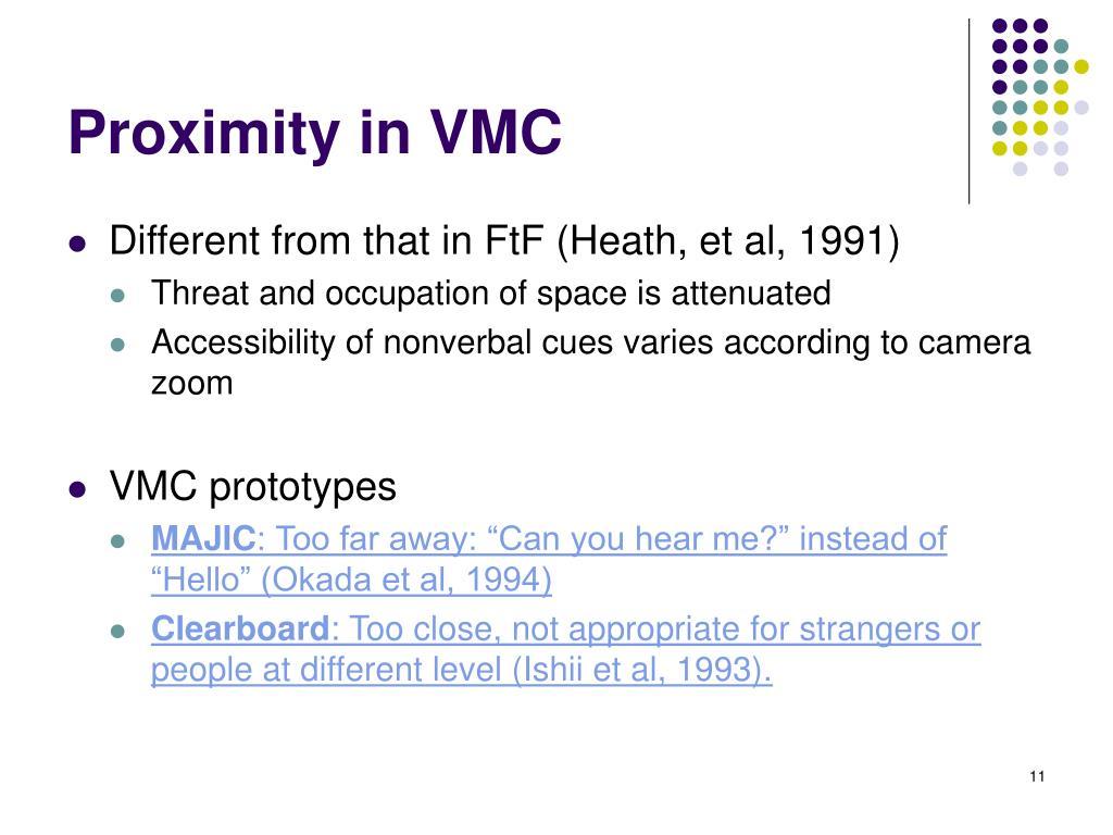 Proximity in VMC