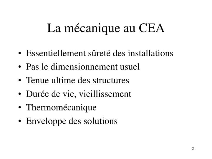 La mécanique au CEA