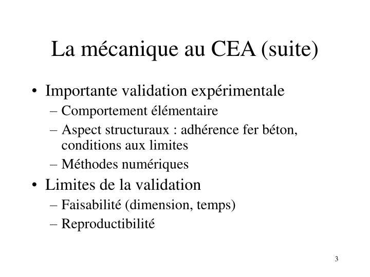 La mécanique au CEA (suite)