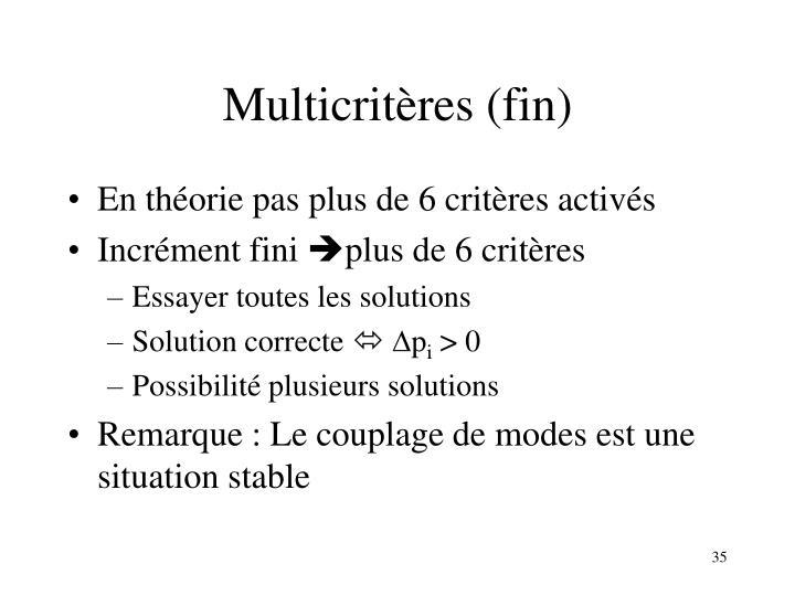Multicritères (fin)