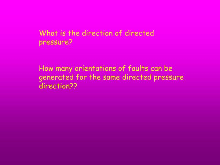 What is the direction of directed pressure?