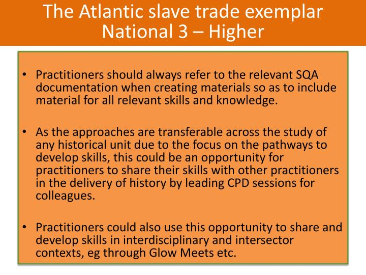 The Atlantic slave trade exemplar