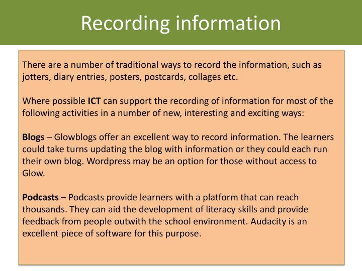 Recording information