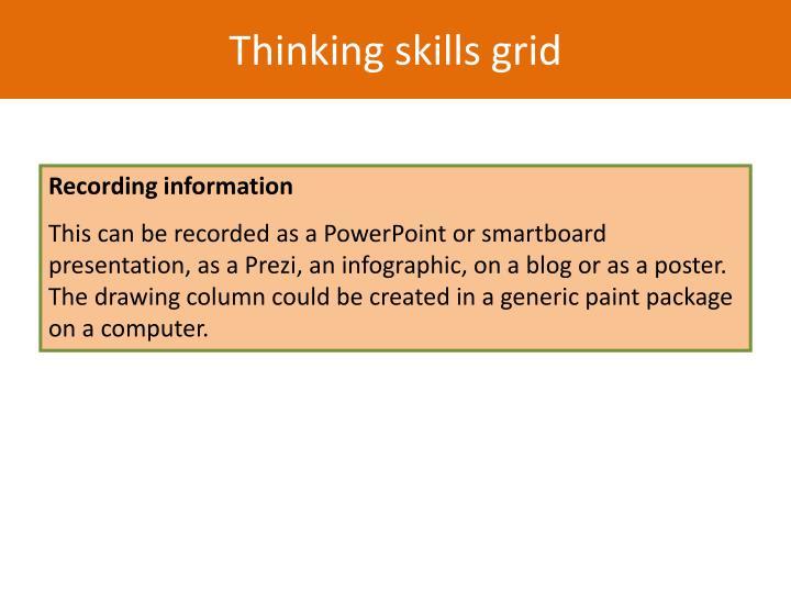 Thinking skills grid