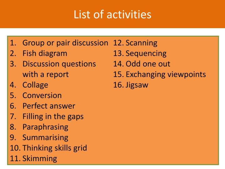 List of activities