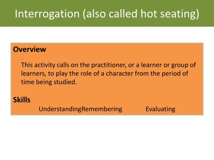 Interrogation (also called hot seating)