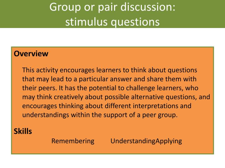 Group or pair discussion: