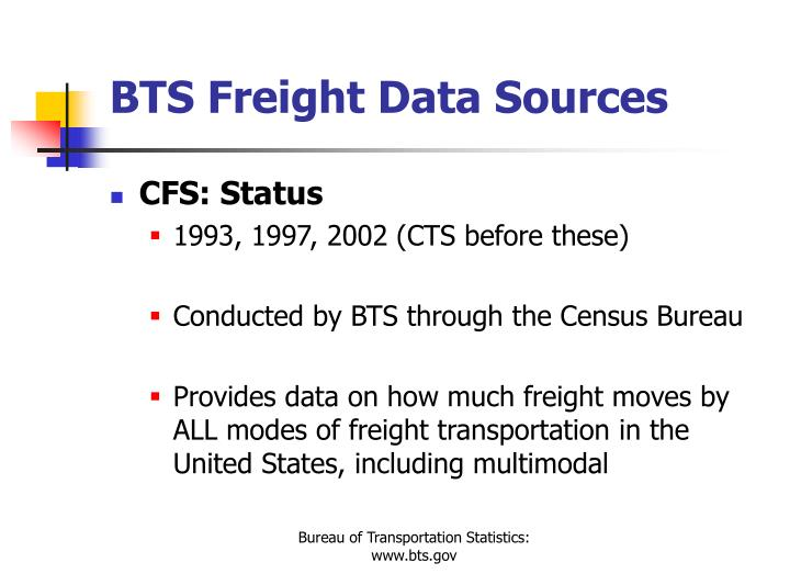 BTS Freight Data Sources