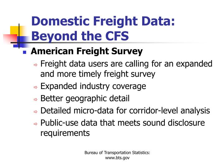 Domestic Freight Data: