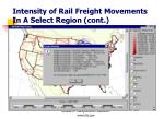 intensity of rail freight movements in a select region cont