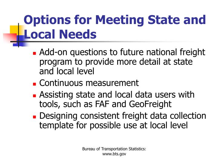Options for Meeting State and Local Needs