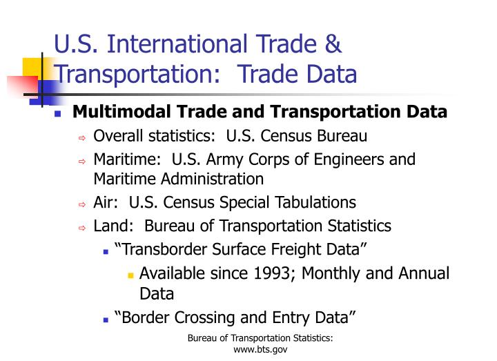 U.S. International Trade & Transportation:  Trade Data