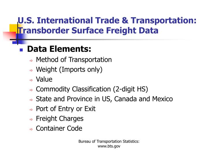 U.S. International Trade & Transportation:  Transborder Surface Freight Data