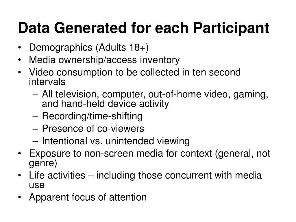 Data Generated for each Participant