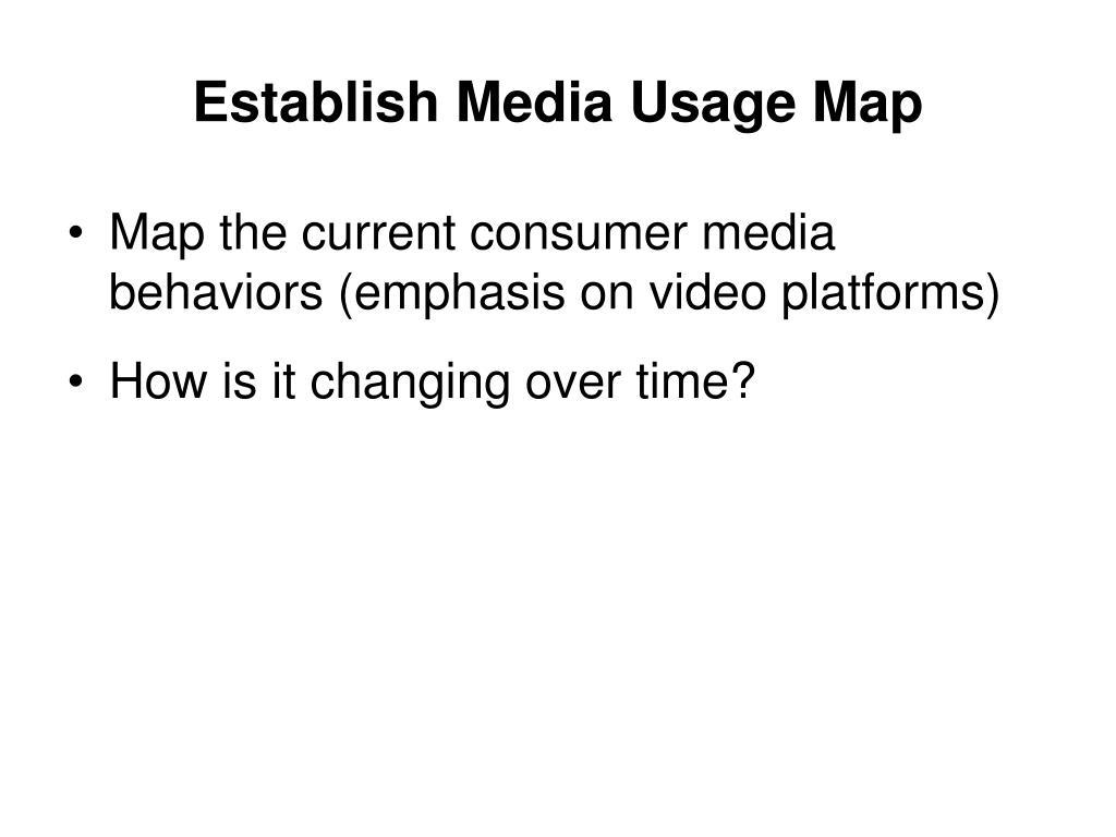 Establish Media Usage Map