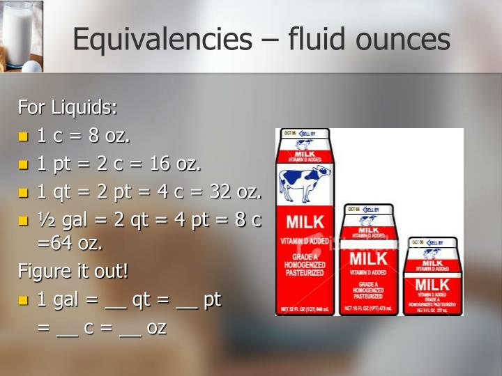 Equivalencies – fluid ounces
