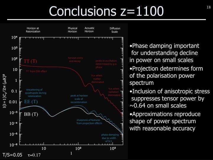Conclusions z=1100