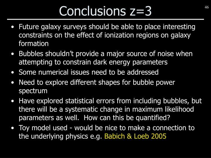 Conclusions z=3