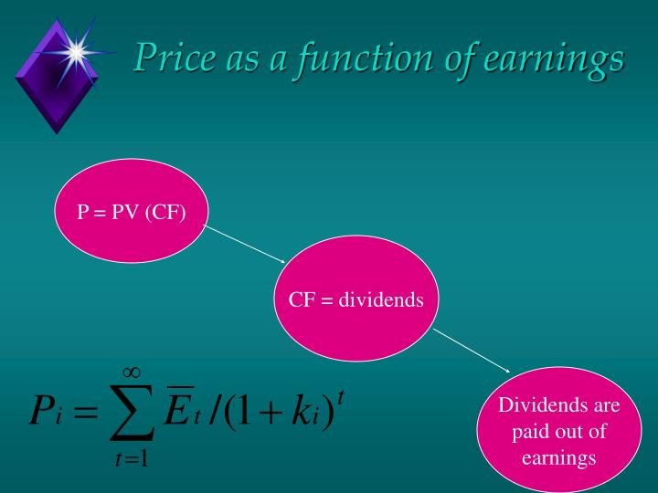 Price as a function of earnings