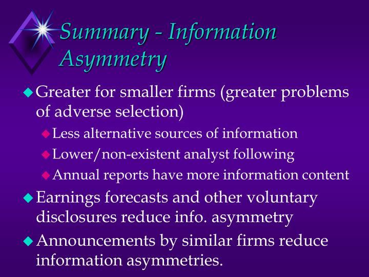Summary - Information Asymmetry